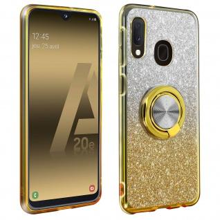 Glitter Silikonhülle mit Ring Halterung für Samsung Galaxy A20e - Gelb
