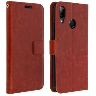 Flip Cover Stand Case Brieftasche & Standfunktion für Huawei P20 Lite - Braun