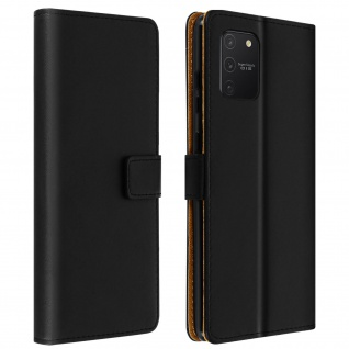 Samsung Galaxy S10 Lite Cover aus Echtleder mit Standfunktion - Schwarz