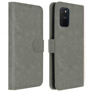 Flip Cover Geldbörse, Klappetui Kunstleder für Samsung Galaxy S10 Lite - Grau