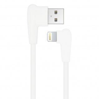 Inkax USB-Kabel mit iPhone/iPad Stecker 2.1A 90 Grad abgewinkelt - Weiß