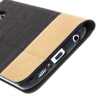 Samsung Galaxy S6 Flip-Cover Brieftaschenstil Kartenfach - Denim Braun - Vorschau 2