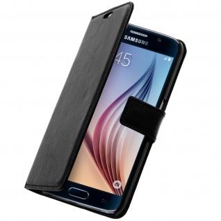 Vintage Flip-Schutzhülle mit Standfunktion für Samsung Galaxy S6 - Schwarz
