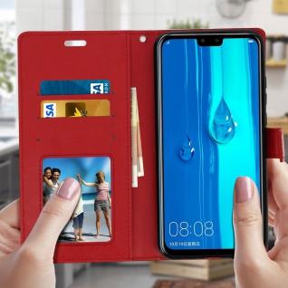 Flip Stand Cover Brieftasche & Standfunktion für Huawei Y9 2019 - Rot - Vorschau 3