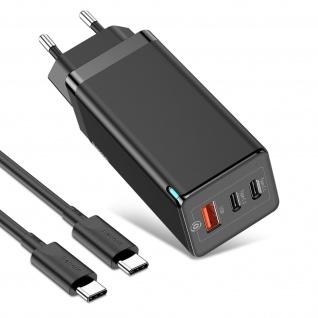 GaN 2 Pro 65W 5A Ladegerät, 2x USB-C / USB QC 3.0 Anschlüsse, Baseus - Schwarz