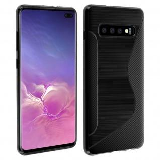 Backcover Samsung Galaxy S10 Plus S-Line Silikonhülle, Carbon Optik - Schwarz