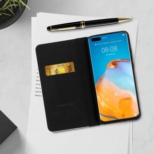 Huawei P40 Pro Klappetui, Cover mit Carbon Design & Ständer ? Schwarz - Vorschau 4