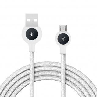 Micro-USB / USB Nylon Kabel, Lade- & Synchronisationskabel, 2A - Weiß - Vorschau 2