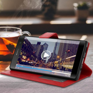 Flip Stand Cover Brieftasche & Standfunktion Sony Xperia XA2 Plus - Rot - Vorschau 3