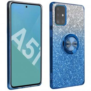 Glitter Silikonhülle mit Ring Halterung für Samsung Galaxy A51 - Blau