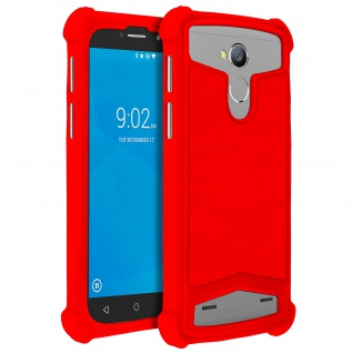 Universal Schutzhülle aus Silikon für Smartphones 4.3'' bis 4.7'' - Rot