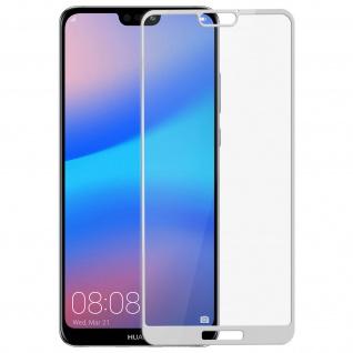 Displayschutzfolie 5D Full Cover 0.3 mm für Huawei P20 Lite Rand Weiß - Roar