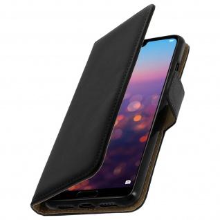 Huawei P20 Flip-Cover aus Echtleder mit Standfunktion & Kartenfach - Schwarz