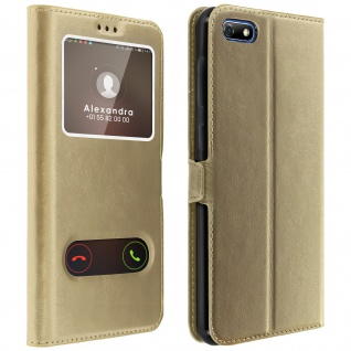 Huawei Y5 2018, Honor 7S Flip Cover mit Doppelfenster & Standfunktion - Gold