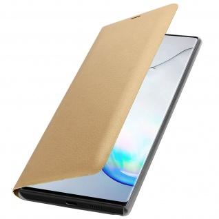 Flip Book Cover, Klappetui aus Kunstleder für Samsung Galaxy Note 10 - Gold - Vorschau 2