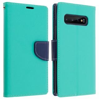 Fancy Style Cover Samsung Galaxy S10, Fach und Standfunktion - Türkisblau