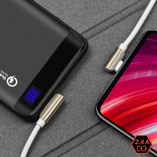 USB-C 2.4A Kabel mit abgewinkeltem Stecker, 1, 2m Exquisite Steel Hoco ? Weiß - Vorschau 3