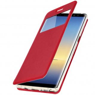 Galaxy Note 8 Flip Case mit Sichtfenster und Kartenfach Rot - Standfunktion