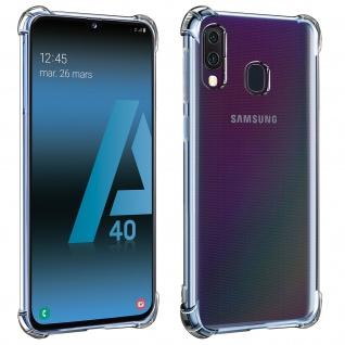 Flexible Samsung Galaxy A40 Silikon Bumper Hülle, stoßfest - Transparent