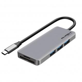 USB-C Hub: 3x USB 1x HDMI 1x USB-C 1x micro-SD / SD, Akashi � Grau