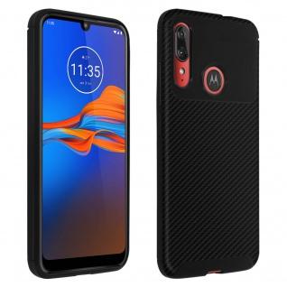 Motorola Moto E6 Plus stoßfeste Schutzhülle Silikon im Carbon Look - Schwarz