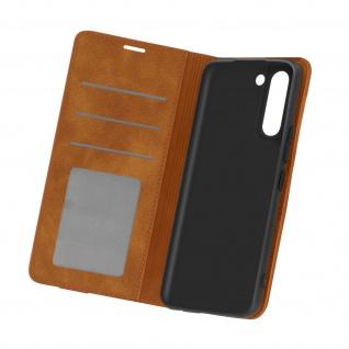 Samsung Galaxy S21 Soft Touch Brieftasche Hülle mit Standfunktion â€? Braun