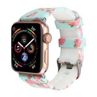Apple Watch 42 / 44mm Armbanduhr, Silikon Armband mit Blumen ? Türkisblau/ Rosa
