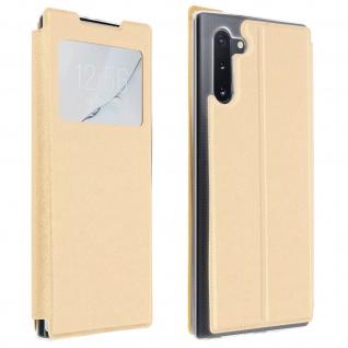 Samsung Galaxy Note 10 Kunstlederetui mit Sichtfenster & Kartenfach ? Gold