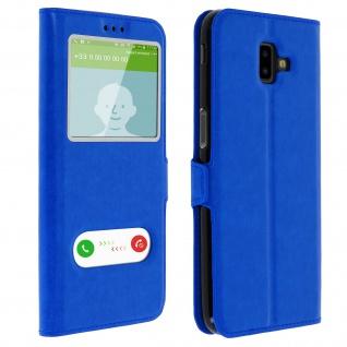 Samsung Galaxy J6 Plus Flip Cover mit Doppelfenster & Standfunktion - Blau