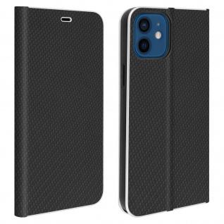 Apple iPhone 12 / 12 Pro Klappetui, Cover mit Carbon Design & Ständer ? Schwarz