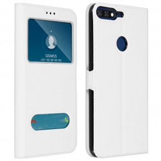 Doppelfenster Flip Cover Honor 7A / Huawei Y6 2018 mit Standfunktion - Weiß