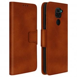 Flip Stand Case Brieftasche & Standfunktion für Xiaomi Redmi Note 9 - Braun