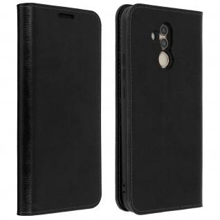 Huawei Mate 20 Lite Flip-Cover aus Echtleder im Brieftaschenstil - Schwarz