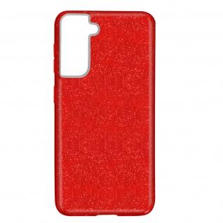 Schutzhülle, Glitter Case für Samsung Galaxy S21, shiny & girly Hülle â€? Rot