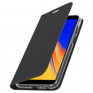 Flip Cover, Klappetui mit Kartenfach & Standfunktion für Galaxy J6 Plus Schwarz - Vorschau 2