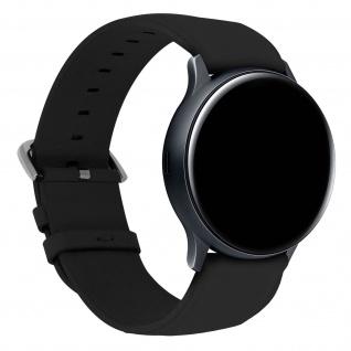 Galaxy Watch Active 2 44mm Kunstleder Ersatzarmband mit Dornschließe - Schwarz