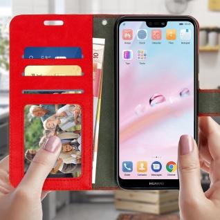Flip Cover Stand Case Brieftasche & Standfunktion für Huawei P20 Lite - Rot - Vorschau 2