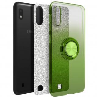 Glitter Silikonhülle mit Ring Halterung für Samsung Galaxy A10 - Grün