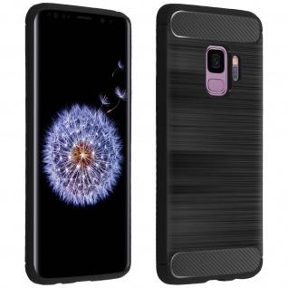 Samsung Galaxy S9 Silikon Schutzhülle mit Carbon/Aluminium Look - Schwarz