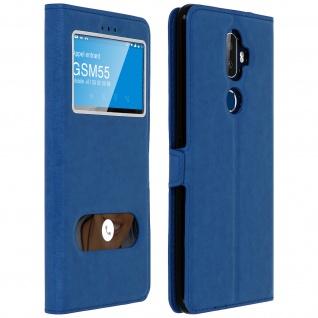 Flip Cover Doppelfenster & Standfunktion für Alcatel 3V, Gelhülle - Blau
