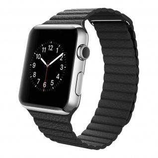 Apple Watch 42 / 44mm Premium-Leder Armband, Lederarmband ? Schwarz