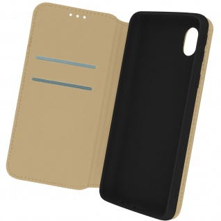 Kunstleder Cover Classic Edition, Klappetui für Samsung Galaxy A01 Core ? Gold