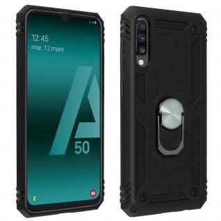 Hybrid Handyhülle mit Ring Halterung für Samsung Galaxy A50 - Schwarz