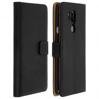LG G7 ThinQ Cover aus Echtleder mit Standfunktion & Kartenfach - Schwarz