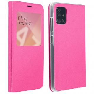 S-View Flip Cover mit Sichtfenster & Kartenfach für Samsung Galaxy A71 - Rosa
