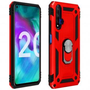 Hybrid Handyhülle mit Ring Halterung für Honor 20, Huawei Nova 5T - Rot