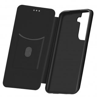 Samsung Galaxy S21 Klappetui, Cover mit Carbon Design & Ständer - Schwarz