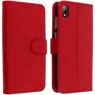 Flip Cover Geldbörse, Klappetui Kunstleder für Huawei Y5 2019 ? Rot