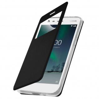 Nokia 2 Flip Cover mit Sichtfenster und Kartenfach Schwarz - Standfunktion