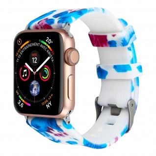 Apple Watch 42 / 44mm Armbanduhr, Silikon Armband mit Blumen ? Weiß/ Blau